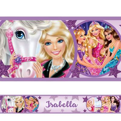 Adesivo de Parede Faixa com Nome Barbie Princesas Lilas