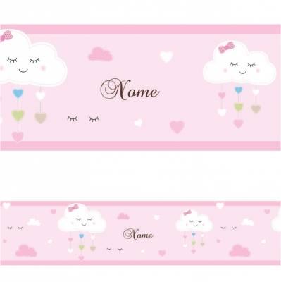 Adesivo de Parede Faixa Nuvens e Nome Personalizado Rosa