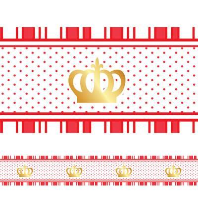 Adesivo Faixa Infantil Coroa Princesa Vermelha