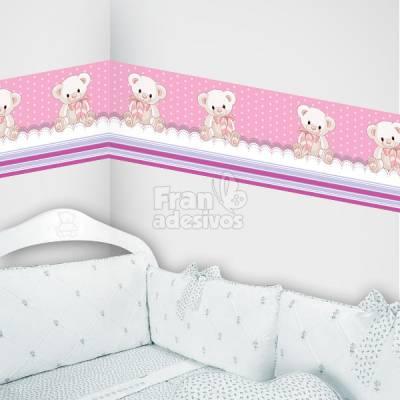 Faixa Decorativa para quarto infantil Ursinho - Rosa