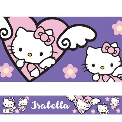 Adesivo de Parede Faixa Personalizada Hello Kitty 01 Lilás
