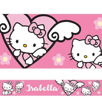 Adesivo de Parede Faixa Personalizado Hello Kitty 01 Rosa