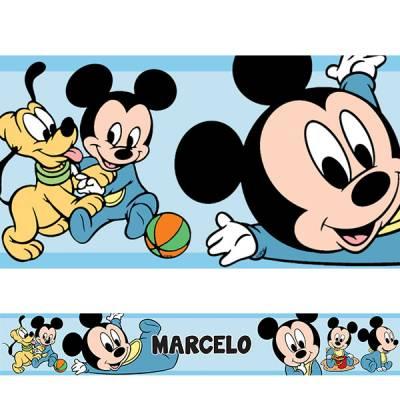 Adesivo de Parede Faixa Mickey Baby Azul Claro Personalizado