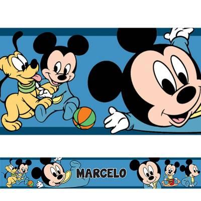 Adesivo de Parede Faixa Mickey Baby Azul Escuro Personalizado