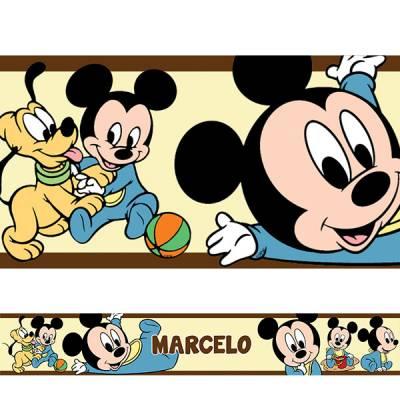 Adesivo de Parede Faixa Mickey Baby Marrom Personalizado
