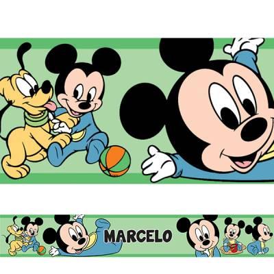 Adesivo de Parede Faixa Mickey Baby Verde Personalizado