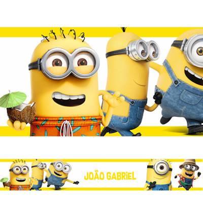 Adesivo de Parede Faixa Minions Nome Personalizados Amarela