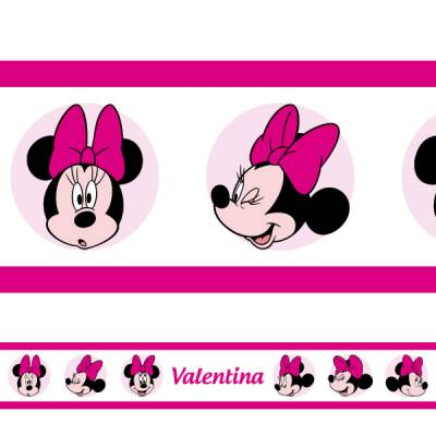 Adesivo de Parede Faixa Personalizada Minnie 2 Magenta
