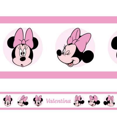 Adesivo de Parede Faixa Personalizada Minnie 2 Rosa