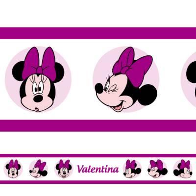 Adesivo de Parede Faixa Personalizada Minnie 2 Roxa