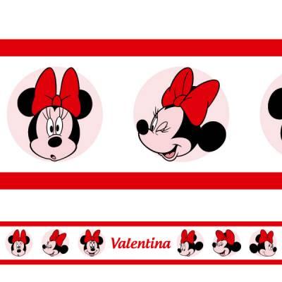 Adesivo de Parede Faixa Personalizada Minnie 2 Vermelha