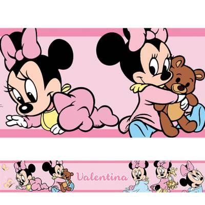 Adesivo de Parede Faixa com Nome Minnie Baby Rosa Claro