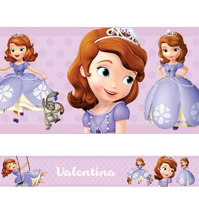 Adesivo de Parede Faixa Personalizada Princesa Sofia Lilás