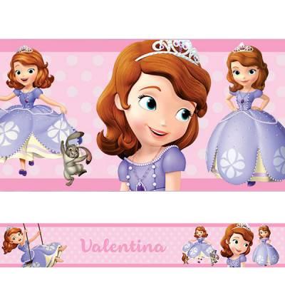 Adesivo de Parede Faixa Personalizada Princesa Sofia Rosa Claro