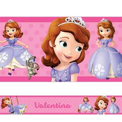 Adesivo de Parede Faixa Personalizada Princesa Sofia Rosa