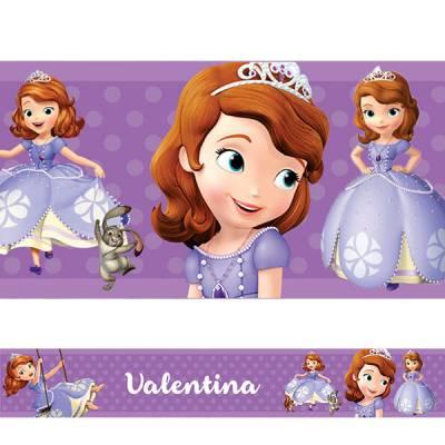 Adesivo de Parede Faixa Personalizada Princesa Sofia Roxa