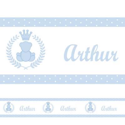 Adesivo de Parede Faixa Personalizada Urso Azul Claro