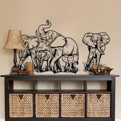 Adesivo De Parede Família De Elefantes Africa