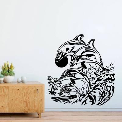 Adesivo De Parede Família De Golfinhos