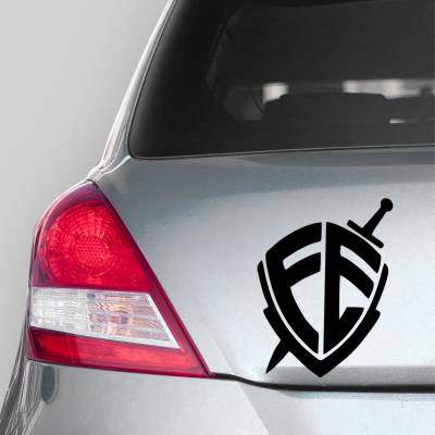 Adesivo de Carro Fé escudo e Espada