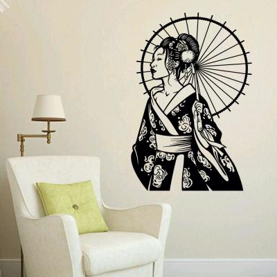 Adesivo De Parede Oriental Gueisha Com Guarda Chuva