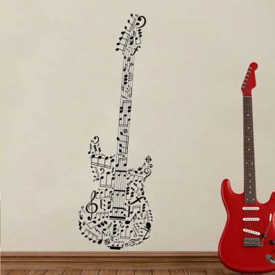 Adesivo De Parede Guitarra Feita De Partituras