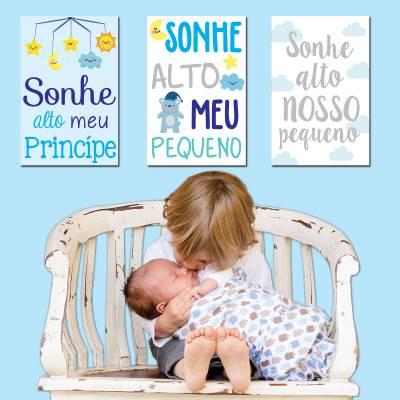 Placa Decorativa Infantil Sonhe Alto Meu Menino
