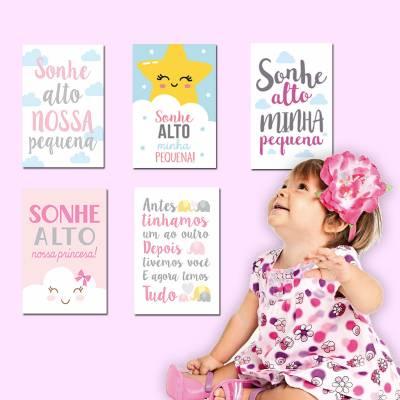 Placa Decorativa Infantil Frase Infantil Sonhe Alto Minha Pequena