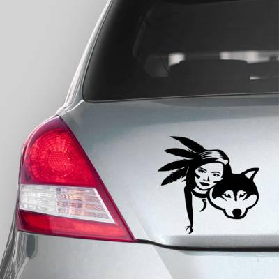 Adesivo de Carro India Com Seu Lobo