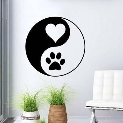 Adesivo De Parede Yin Yang Amor E Cachorro