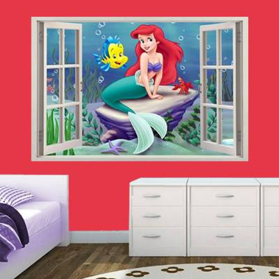 Adesivo de Parede Janela Falsa a Pequena Sereia Ariel