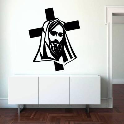 Adesivo de Parede Jesus Cristo Cruz e Manto
