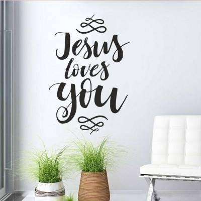 Adesivo de Parede Frase Jesus Loves You