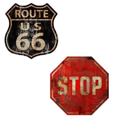 Kit 2 Placas Decorativas Route 66 Stop MDF