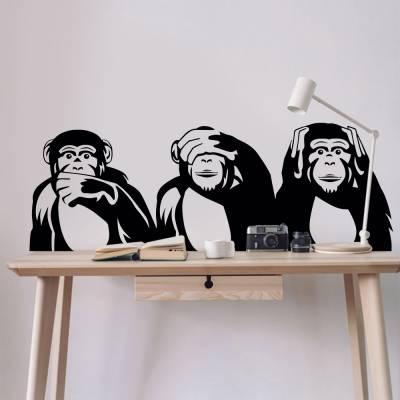 Adesivo de Parede Macacos Não Falo Não Vejo Não Ouço