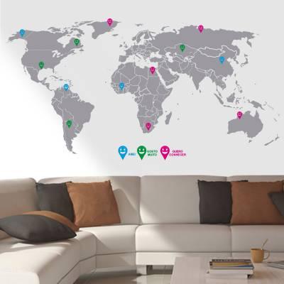 Adesivo de Parede Mapa Do Mundo Com Marcadores
