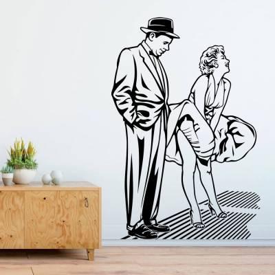 Adesivo de Parede Marilyn Monroe Vestido Ao Vento