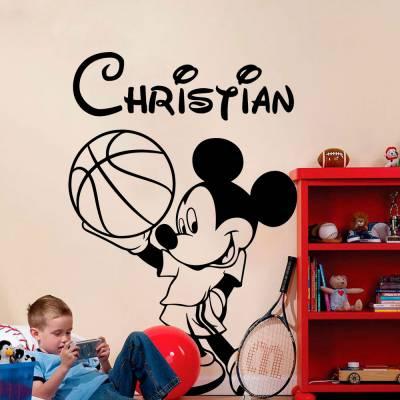 Adesivo de Parede Mickey Basquete Nome Personalizado