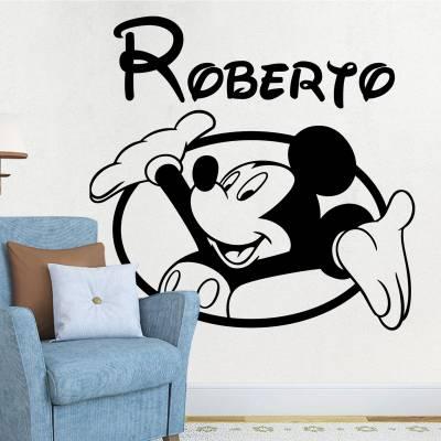 Adesivo De Parede Mickey Mouse Com Nome Personalizado 02