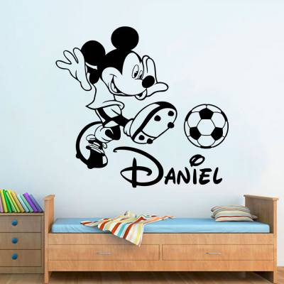 Adesivo de Parede Mickey Futebol Nome Personalizado