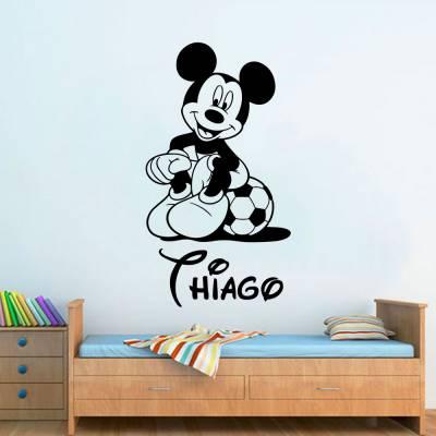 Adesivo De Parede Mickey Mouse Com Nome Personalizado 04