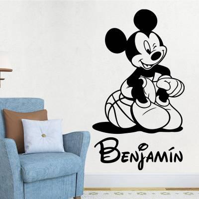 Adesivo De Parede Mickey Mouse Com Nome Personalizado 05