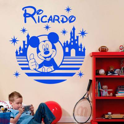 Adesivo De Parede Mickey Mouse Com Nome Personalizado