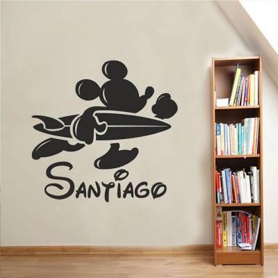 Adesivo de Parede Mickey Surfista Nome Personalizado