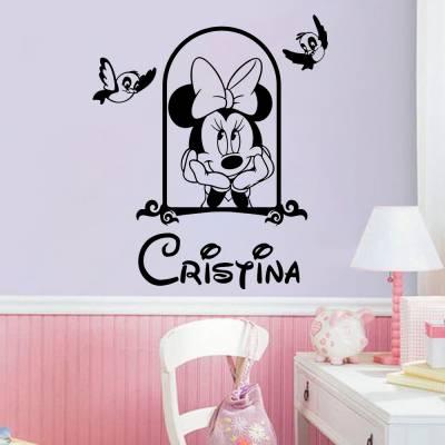 Adesivo De Parede Minnie Mouse Corações com Nome Personalizado 02