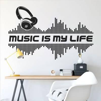 Adesivo de Parede Frase Music Is My Life