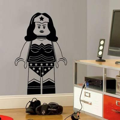 Adesivo de Parede Mulher Maravilha Lego