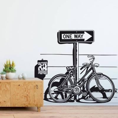 Adesivo De Parede One Way Bike