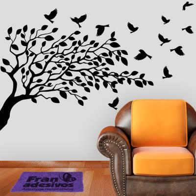 Adesivo de Parede Arvore Arvore e Pássaros ao Ar Livre