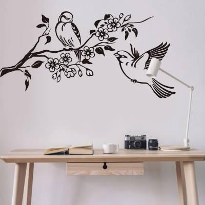 Adesivo De Parede Galho Florido Com Pássaros